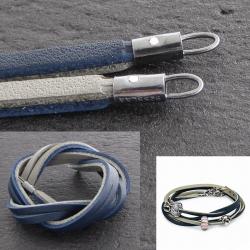 8b390999c12d TROLLBEADS Lederarmband - dunkelblau hellgrau 36, 41 und 45 cm