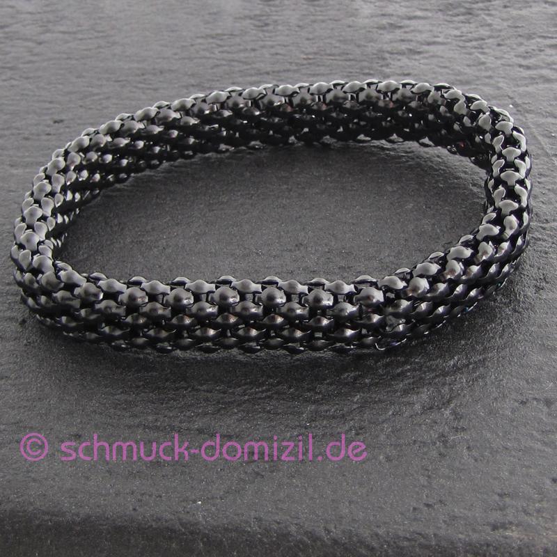 neu quoins armband elastisch flach edelstahl schwarz ebay. Black Bedroom Furniture Sets. Home Design Ideas