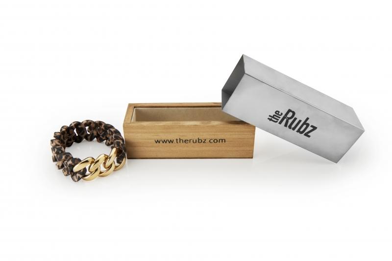 the Rubz - Pixel Mini Armband 15 mm - Taupe / Metal Mix